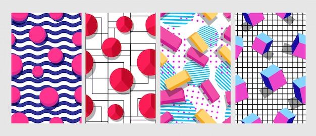 Ensemble de différentes figures lumineuses futuristes modèle sans couture géométrique abstrait créatif