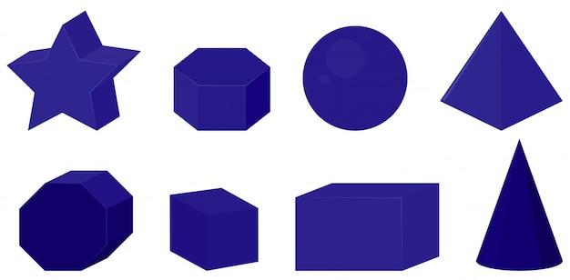 Ensemble de différentes formes géométriques de couleur bleu foncé