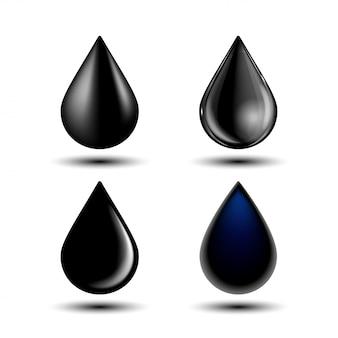 Ensemble de différentes gouttes noires, illustration sur fond blanc