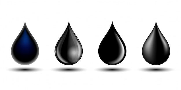 Ensemble de différentes gouttes noires, illustration