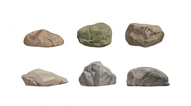 Ensemble de différentes grosses pierres de dessin animé.
