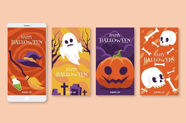 Ensemble De Différentes Histoires D'halloween Vecteur gratuit