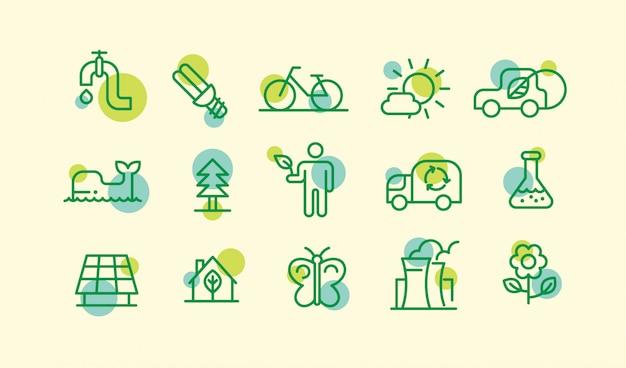 Ensemble de différentes icônes de l'écologie dans le style de dessin de contour.