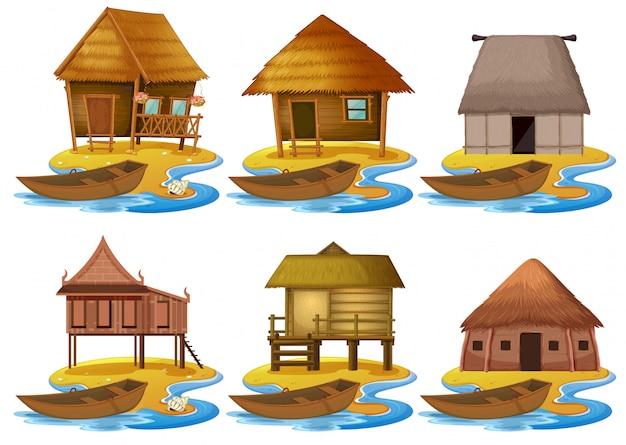Ensemble de différentes maisons en bois