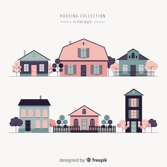 Ensemble de différentes maisons roses