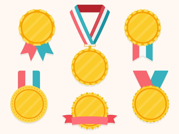 Ensemble de différentes médailles avec des rubans