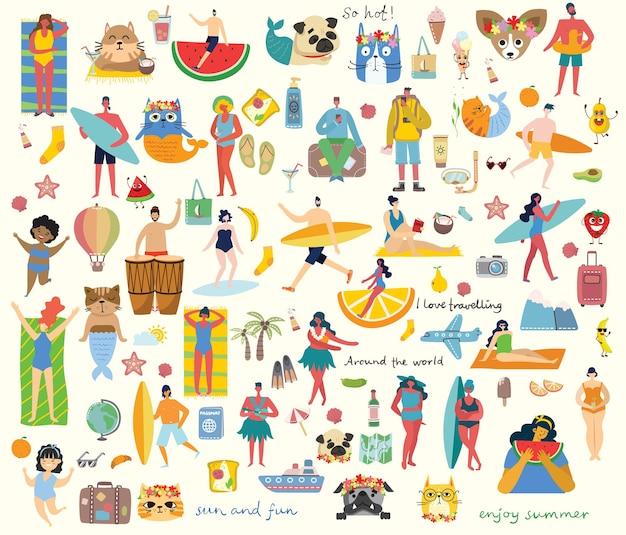 Ensemble de différentes personnes et icônes de voyage d'été dans l'orgelet plat