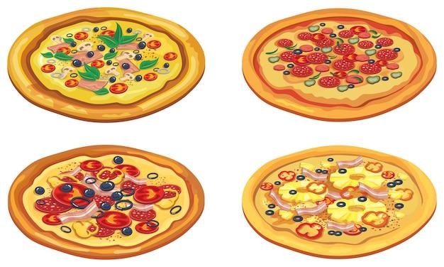 Ensemble de différentes pizzas. restauration rapide italienne en style cartoon.