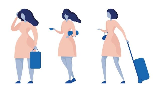 Ensemble de différentes poses femme debout vue latérale elle tenant une tasse de café sac à main poignée valises