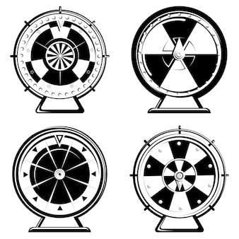 Ensemble de différentes roues de fortune dans un style monochrome.