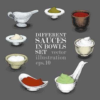 Ensemble de différentes sauces dans des bols. dessiné à la main
