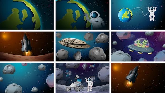Ensemble de différentes scènes de l'espace