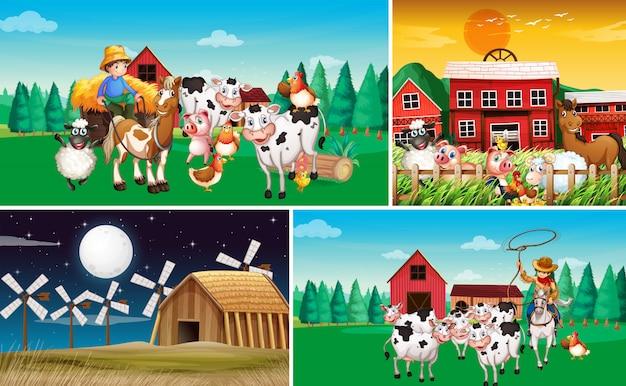 Ensemble de différentes scènes de ferme avec un style de dessin animé de ferme animale