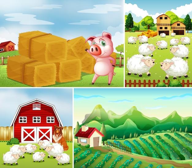 Ensemble de différentes scènes de ferme avec style de dessin animé de ferme animale