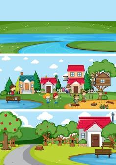 Ensemble de différentes scènes d'horizon avec personnage de dessin animé pour enfants doodle