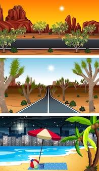 Ensemble de différentes scènes horizontales de forêt à différents moments