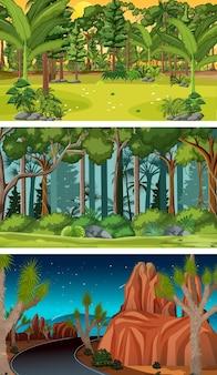 Ensemble de différentes scènes horizontales de la forêt à des moments différents