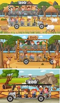 Ensemble de différentes scènes horizontales de safari avec des animaux et des personnages de dessins animés pour enfants