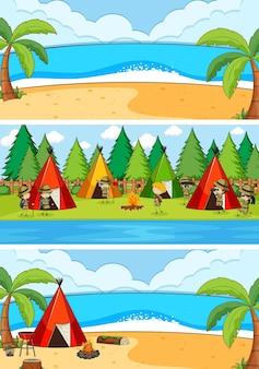 Ensemble de différentes scènes de plage horizontale avec personnage de dessin animé pour enfants doodle