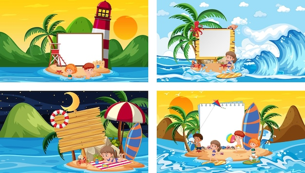 Ensemble de différentes scènes de plage tropicale avec bannière vierge