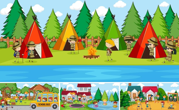 Ensemble de différentes scènes en plein air avec de nombreux enfants doodle personnage de dessin animé