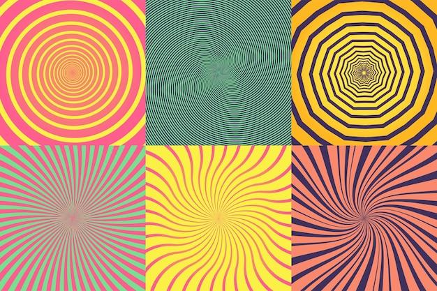 Ensemble de différentes spirales psychédéliques, vortex, tourbillon. collection d'arrière-plans colorés de vecteur.