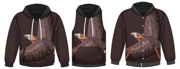 Ensemble de différentes vestes avec modèle de faucon