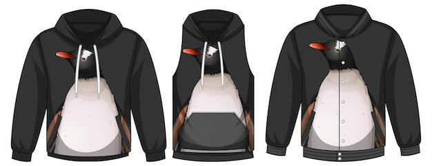 Ensemble de différentes vestes avec modèle de pingouin