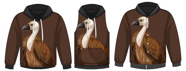 Ensemble de différentes vestes avec modèle de vautour