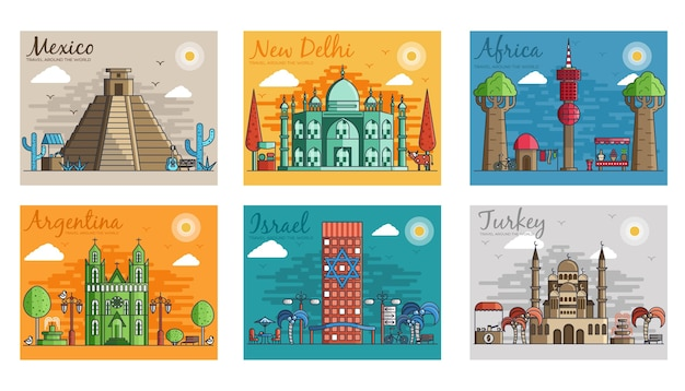 Ensemble de différentes villes pour les destinations de voyage