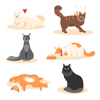 Ensemble de différents animaux adorables