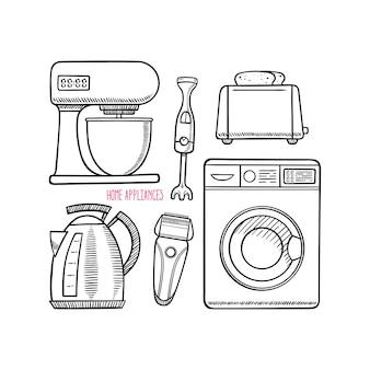 Ensemble de différents appareils ménagers.