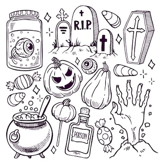 Ensemble de différents attributs d'halloween. illustration dessinée à la main