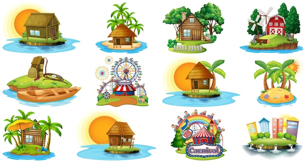Ensemble de différents bangalows et thème de plage de l'île et parc d'attractions isolé sur fond blanc