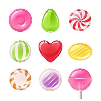 Ensemble de différents bonbons. bonbons assortis.