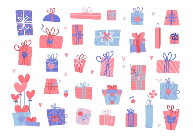 Ensemble de différents cadeaux de la saint-valentin. isole les coffrets cadeaux emballés avec des coeurs.