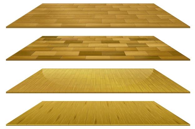 Ensemble de différents carreaux de sol en bois brun isolé sur fond blanc