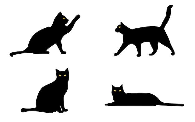 Ensemble de différents chats noirs halloween graphiques vectoriels
