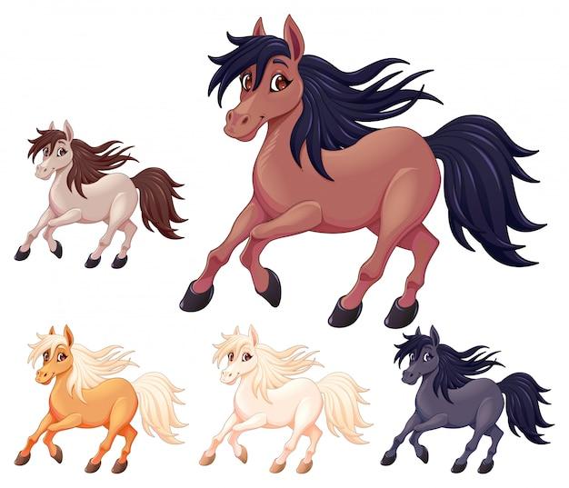 Ensemble de différents chevaux de dessin animé
