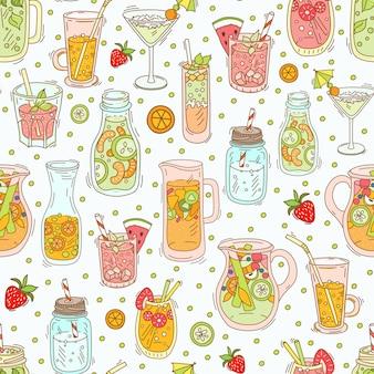 Ensemble de différents cocktails et smoothies