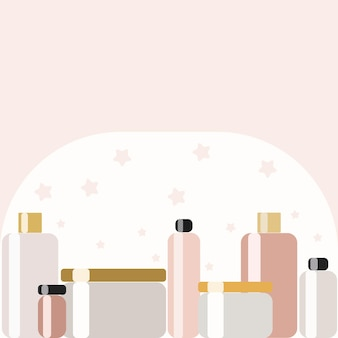 Un ensemble de différents contenants et pots pour crème et parfumerie. contexte de la ligne de nouveaux cosmétiques