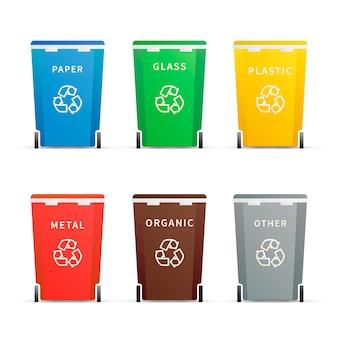 Ensemble de différents conteneurs de déchets colorés pour différents types de déchets sur blanc