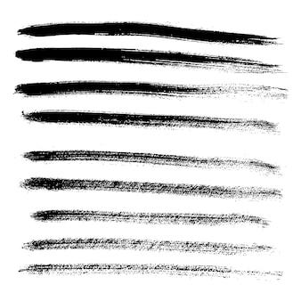 Ensemble de différents coups de pinceau et taches de grunge. illustration vectorielle.