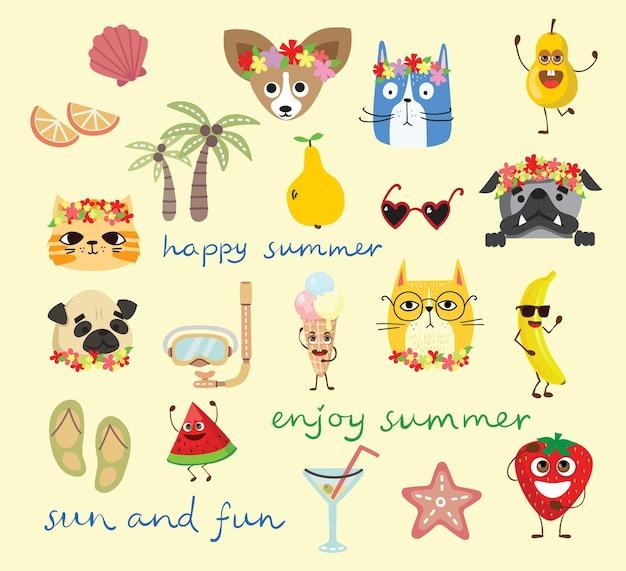 Ensemble de différents éléments et animaux d'été