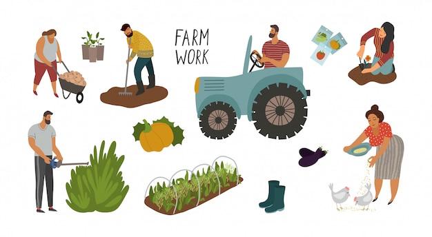 Ensemble de différents éléments et personnes travaillant dans le jardin et à la ferme.
