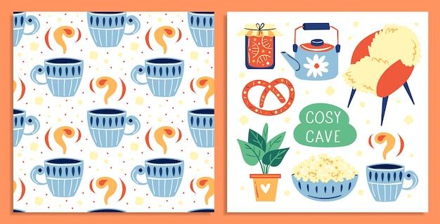 Ensemble de différents éléments de style de vie mignon. . plat, tasse de café, pop-corn, pot de confiture. carte postale. illustration colorée plate, art isolé