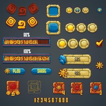 Ensemble de différents éléments et symboles pour la conception de sites web et les jeux informatiques