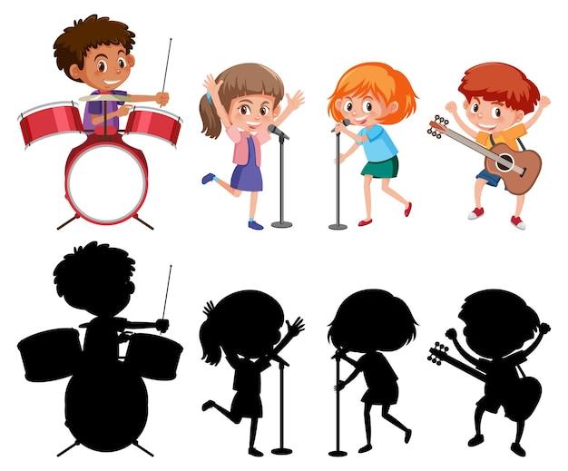 Ensemble de différents enfants jouant des instruments de musique avec silhouette