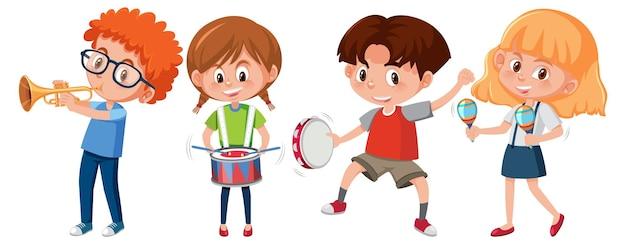 Ensemble de différents enfants jouant des instruments de musique
