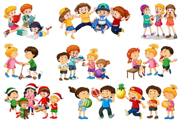 Ensemble de différents enfants jouant avec leur personnage de dessin animé de jouets isolé sur fond blanc